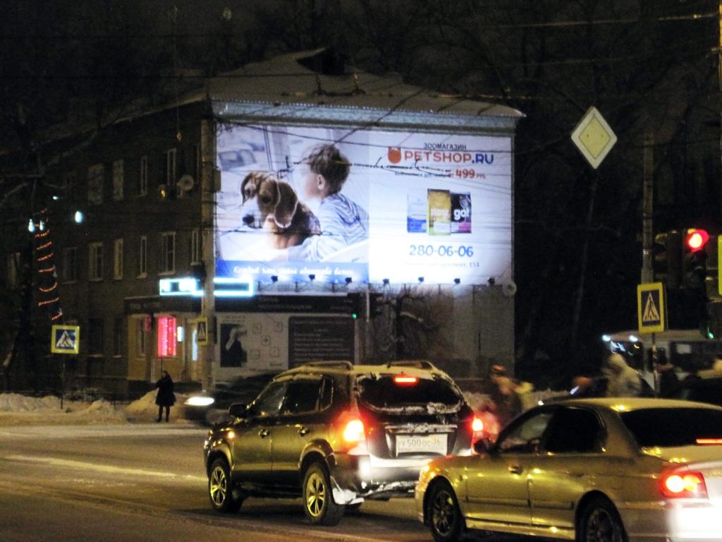 Брандмауэр зоомагазина «Pershop.Ru», ул. Космонавтов, д.15, ночной вид