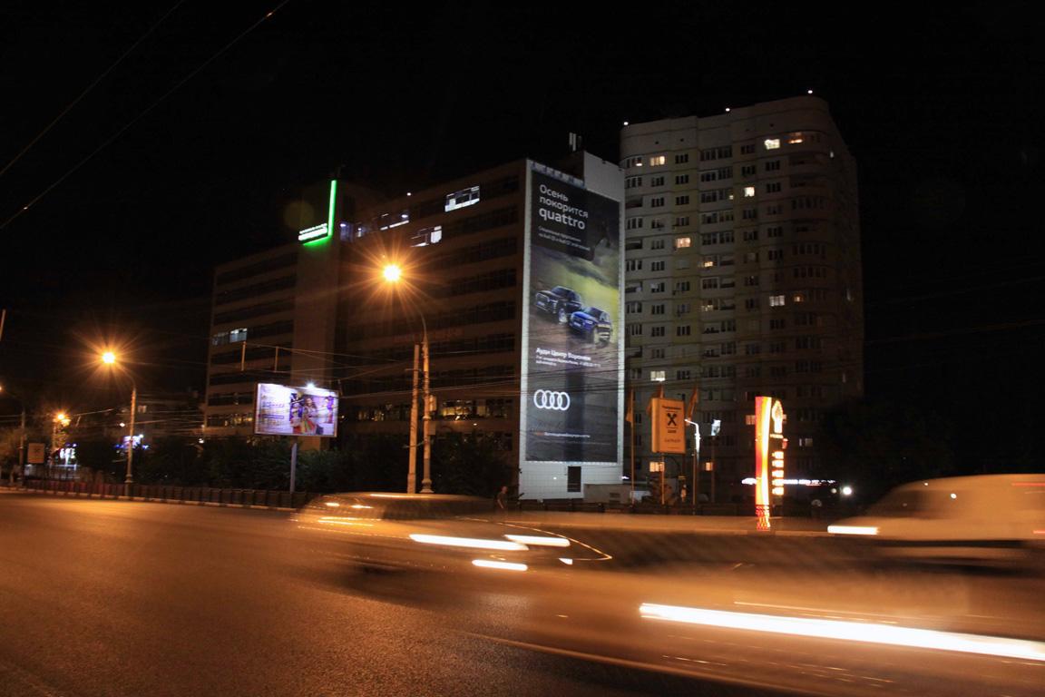 Брандмауэр Audi Quattro, Московский пр-т, д. 4, ночной вид