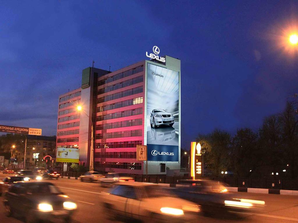 Крышная установка + брандмауэр - Московский пр-т, 4 (сторона А), ночной вид