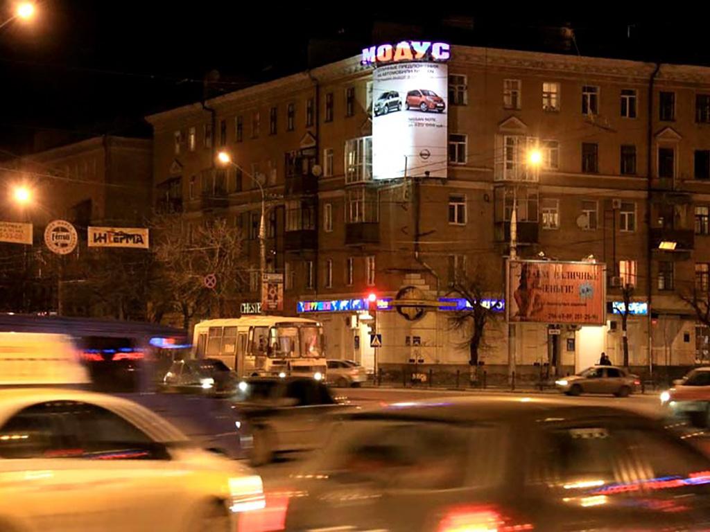 Крышная установка + брандмауэр - ул. Плехановская, 40, ночной вид