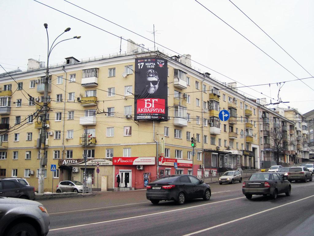 Брандмауэр «БГ и Аквариум», ул. Степана Разина, д. 45, дневной вид