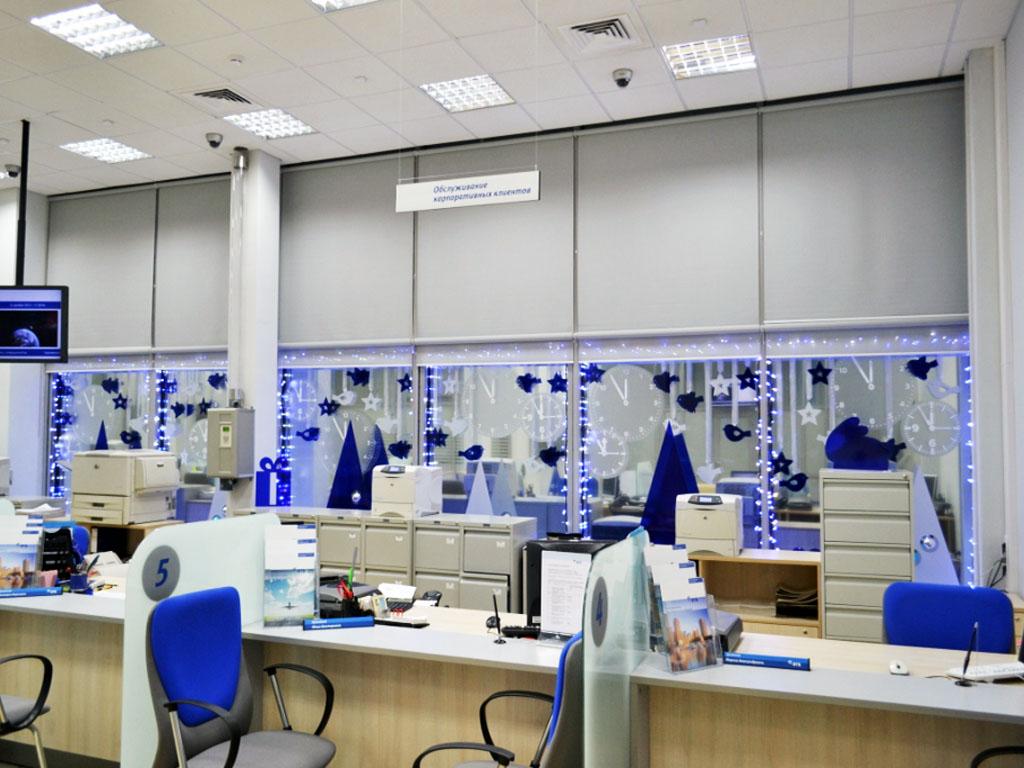 Новогоднее оформление офиса Банка «ВТБ», г. Брянск