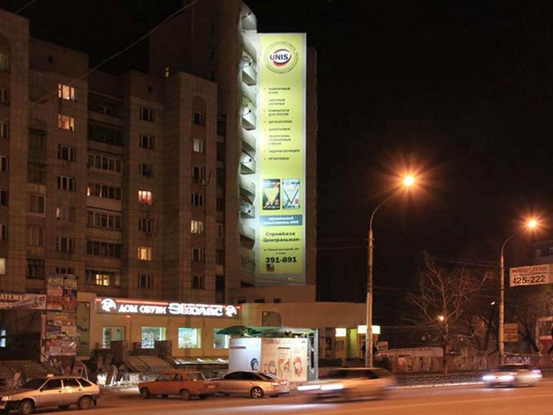 Брандмауэр Ленинский пр-т, 117, ночной вид
